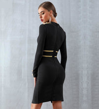 Load image into Gallery viewer, Long sleeve front slit bodycon bandage midi dress