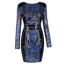 Load image into Gallery viewer, Long sleeve sequin mini party dress