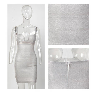 Lessie silver glitter mini party dress