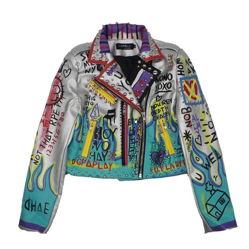 Jacquie silver graffiti leather jacket