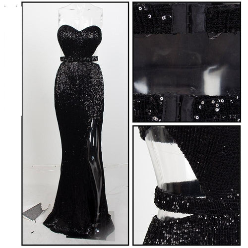 Black open back sleeveless maxi evening dress