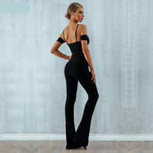 Load image into Gallery viewer, Black flare bandage jumpsuit