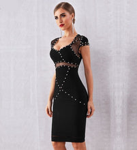 Load image into Gallery viewer, Black studded bodycon bandage dress