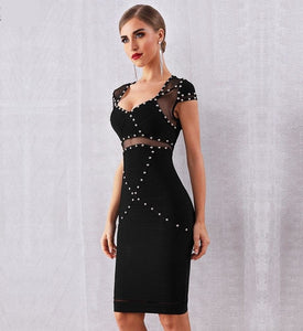 Black studded bodycon bandage dress