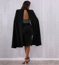 Load image into Gallery viewer, Black midaxi cloak sleeve bodycon dress