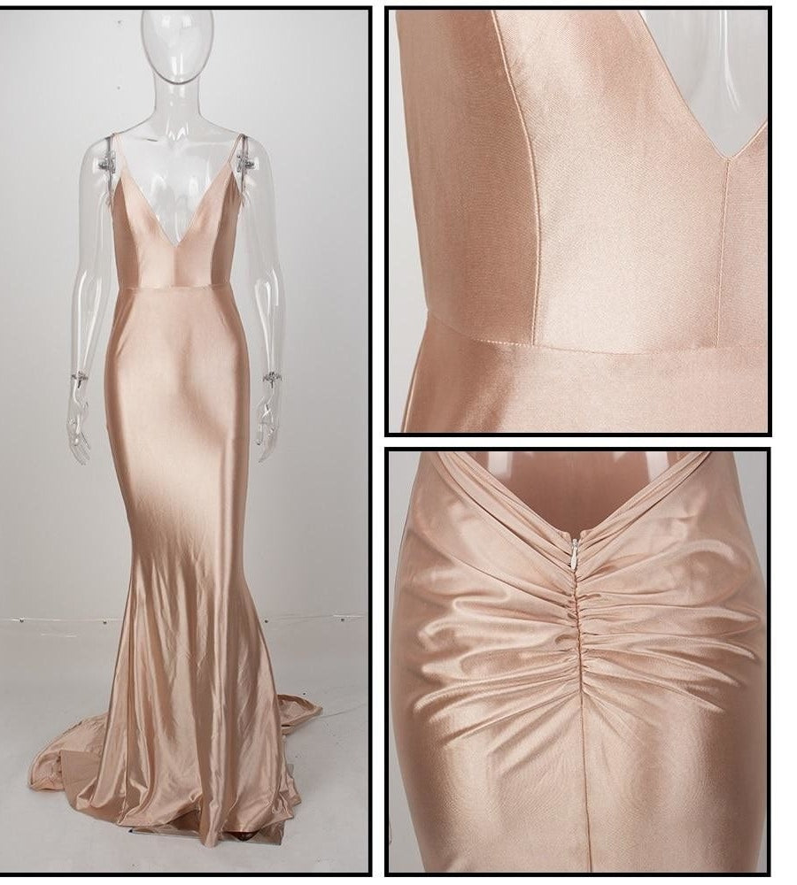 Nude v-neck maxi evening dress