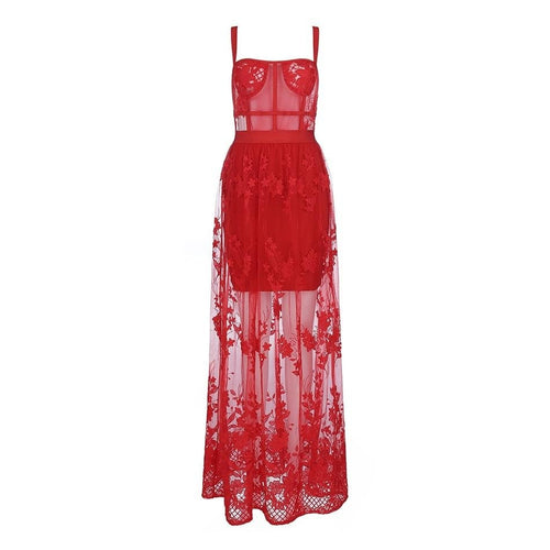 Gabby Red lace maxi dress