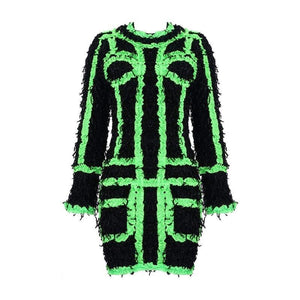 Aaliyah panelled fluorescent mini dress