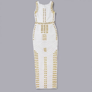 Tamera gold beaded midaxi bandage dress