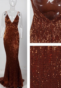 Ciara bronze open back evening dress