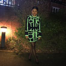 Load image into Gallery viewer, Aaliyah panelled fluorescent mini dress