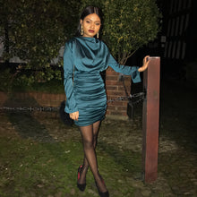 Load image into Gallery viewer, Layla green ruched mini dress