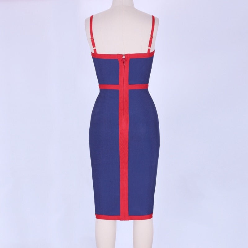 c4723778ad7d ... Load image into Gallery viewer, Square neck midi bandage dress ...