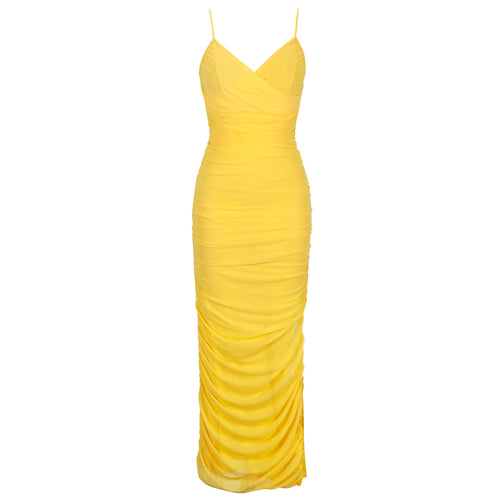 Mia Draped yellow dress