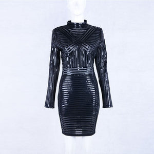 Luxe Shai high neck PU leather bodycon dress