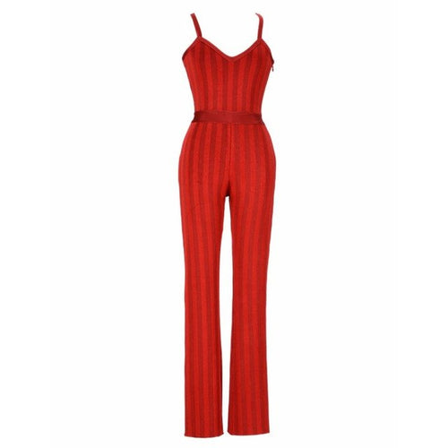 Ray stripe bandage jumpsuit