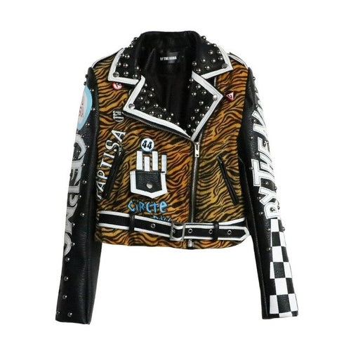 Ronelle tiger PU leather jacket