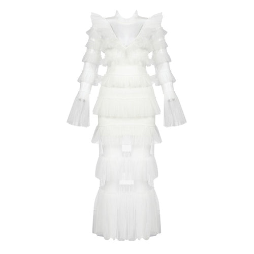 Ornella white lace midaxi dress
