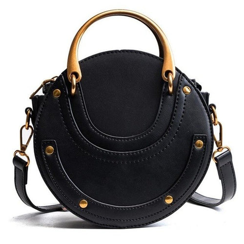 Round leather tote bag