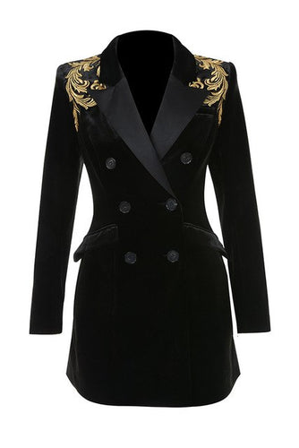 Charlotte black and gold embroidery blazer
