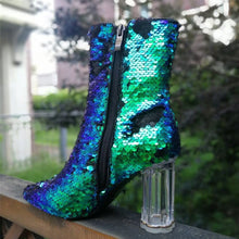 Load image into Gallery viewer, Abelina sequin ankle boots