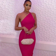 Load image into Gallery viewer, Rosa one shoulder midaxi bandage dress