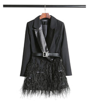 Load image into Gallery viewer, Scarlett feather blazer dress