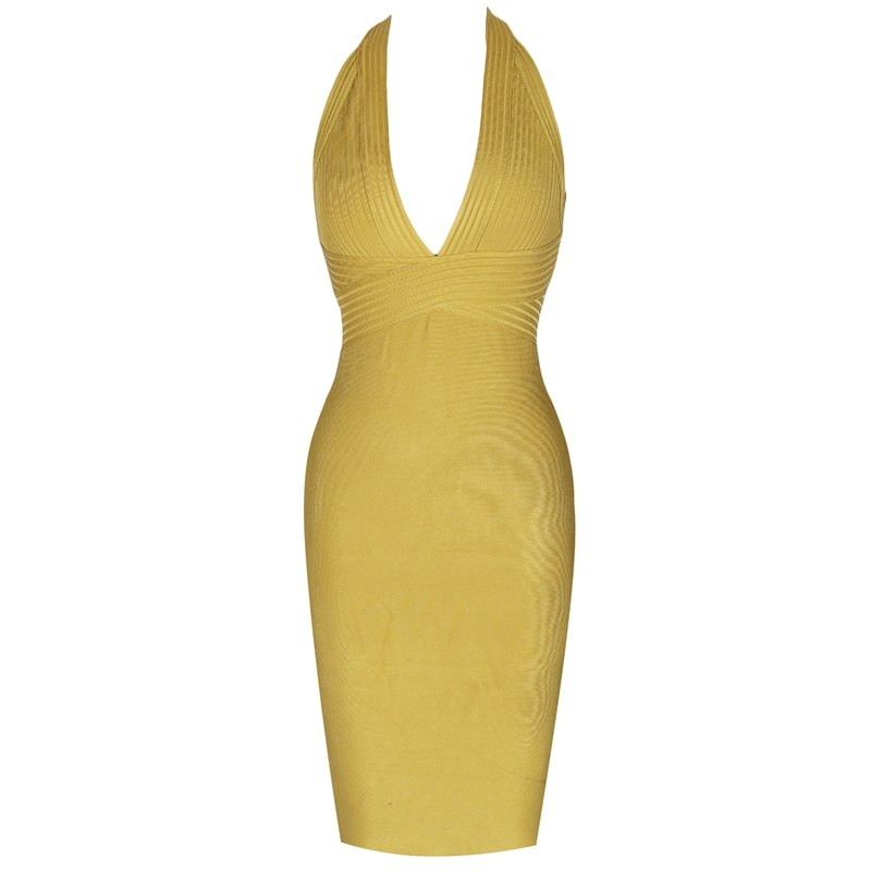 Heather halter v-neck bandage dress