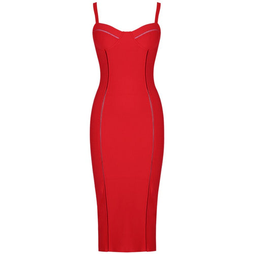 Mel red midi bandage dress