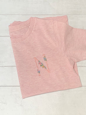Children's Floral Initial TShirt