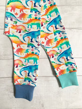 Load image into Gallery viewer, Watercolour rainbow dinosaur harem leggings