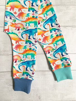 Watercolour rainbow dinosaur harem leggings