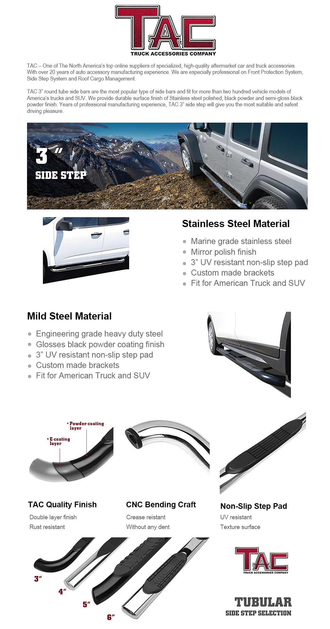 2 PCS Running Boards 1500 Mega Cab Truck Pickup 3 T304 Stainless Steel Side Bars Nerf Bars Running Boards Exterior Accessories TAC Side Steps Compatible with 2006-2009 Dodge Ram 2500//3500