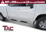 "TAC Stainless Steel 5"" Oval Bend Side Steps For 2019-2020 Chevy Silverado/GMC Sierra 1500 Double Cab 