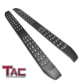 TAC Fine Texture Frigate Running Boards for 2019-2021 Chevy Silverado/GMC Sierra 1500 | 2020-2021 Silverado/Sierra 2500/3500 HD Crew Cab Truck | Side Steps | Nerf Bars | Side Bars