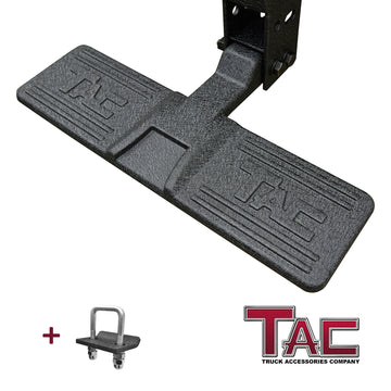 "TAC Rugged Hitch Step Universal Fit 2"" Hitch Receiver / Heavy Duty Steel Die Casting Technique with Heavy Texture Black Finish / Lock Pin and Stainless Steel Hitch Tightener Included"