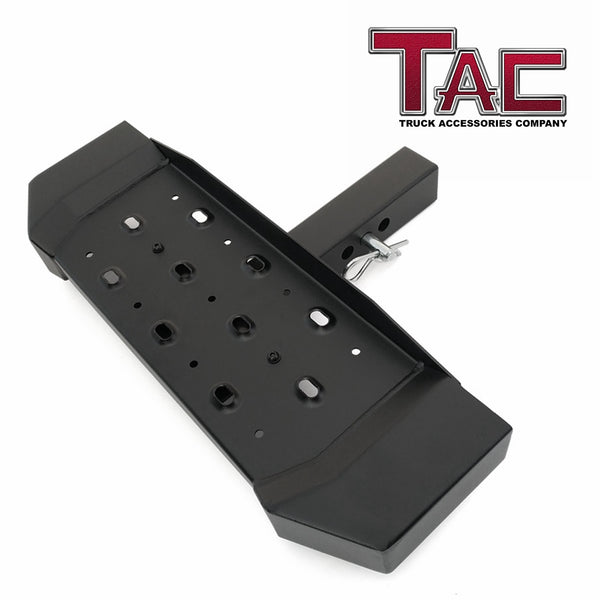 "TAC Fine Texture Steel Hitch Step with no Drop Universal for 2"" Rear Hitch Receivers / Hitch Tightener Included"