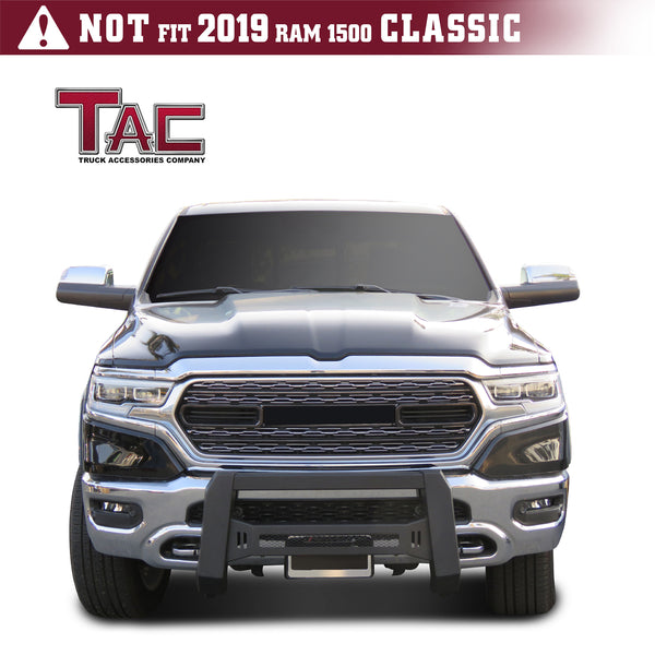 TAC Predator Modular Bull Bar Mesh Version For 2019-2021 Dodge RAM 1500 (Excl. Rebel Trim, 2019-2021 RAM 1500 Classic and 2020-2021 Ram 1500 Diesel Models) Truck Front Bumper Brush Grille Guard Nudge Bar