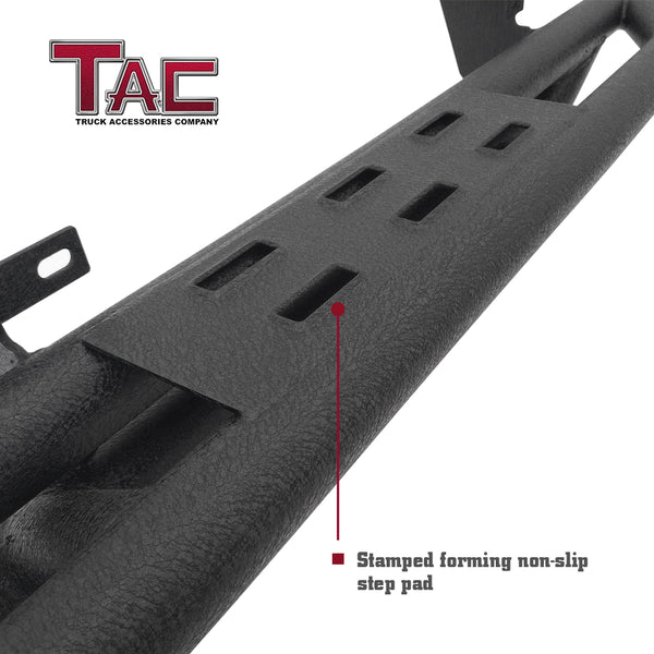 TAC Heavy Texture Black Side Armor Steps for 2018-2019 Jeep Wrangler JL 2 Door (Exclude 2018 Wrangler JK Models) | Running Boards | Nerf Bars | Side Bars
