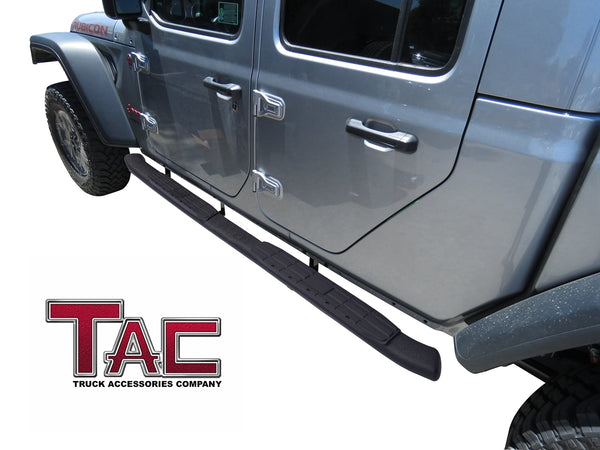 TAC Heavy Texture Black PNC Side Steps For 2020-2021 Jeep Gladiator 4 Door Truck | Running Boards | Nerf Bar | Side Bar