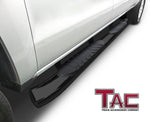 "TAC Gloss Black 5"" Oval Bend Side Steps For 2001-2014 Chevy Silverado/GMC Sierra LD/HD Crew Cab 