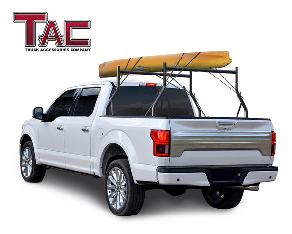 TAC Gloss Black Adjustable Truck Bed Ladder Rack 2 Bars For Truck (500 lbs Capacity)