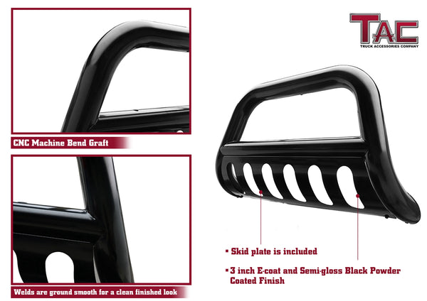 "TAC Gloss Black 3"" Bull Bar For 2004-2020 Ford F150 Truck (Excl. Heritage Edition and 10-14 F150 Raptor Models) / 2003-2017 Ford Expedition SUV Front Bumper Brush Grille Guard Nudge Bar"