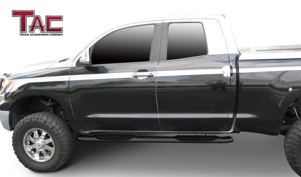 "TAC Gloss Black 5"" Oval Straight Side Steps For 2007-2021 Toyota Tundra Double Cab Truck 