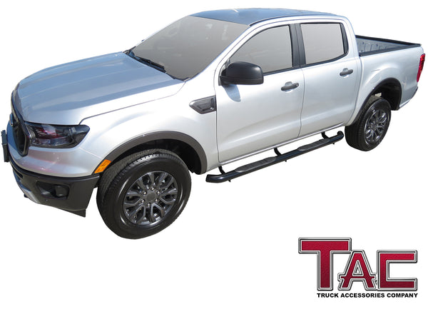 "TAC Gloss Black 3"" Side Steps For 2019-2021 Ford Ranger SuperCrew Cab Truck 