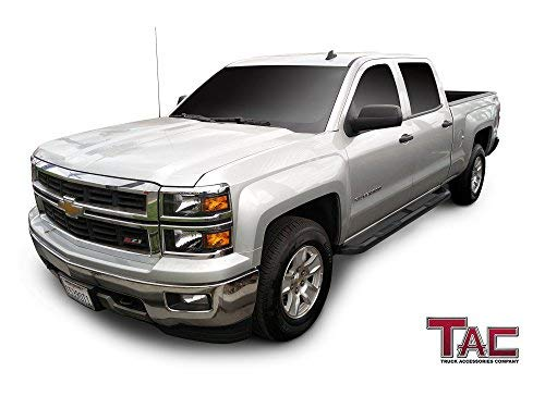 "TAC Gloss Black 3"" Side Steps For 2001-2018 Chevy Silverado / GMC Sierra 1500 Crew Cab (Excl. C/K ""Classic"") / 2001-2019 Chevy Silverado / GMC Sierra 2500 / 3500 Crew Cab (Excl. C/K ""Classic"") Truck 