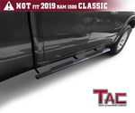 "TAC Fine Texture Black 4"" Side Steps for 2019-2021 Dodge Ram 1500 Quad Cab (Excl. 2019-2021 RAM 1500 Classic) Truck 