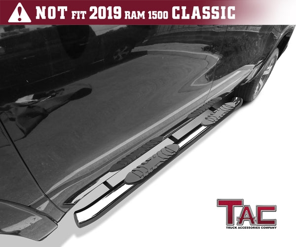 "TAC Stainless Steel 5"" Oval Bend Side Steps For 2019-2021 Dodge Ram 1500 Crew Cab (Excl. 2019-2021 RAM 1500 Classic) Truck 