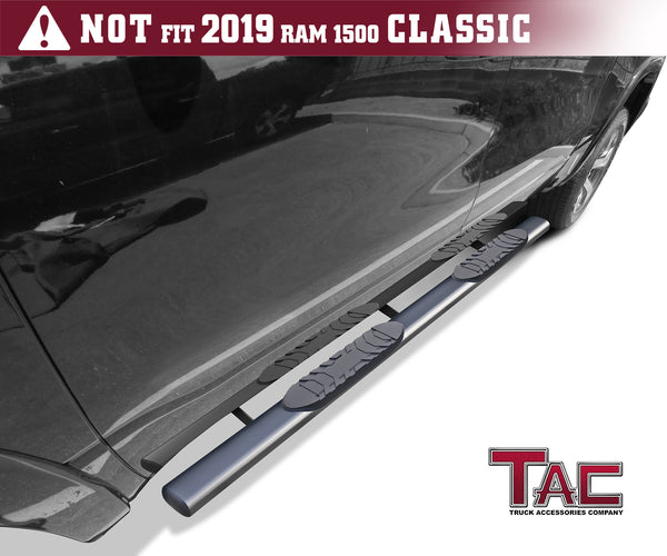 "TAC Gloss Black 5"" Oval Straight Side Steps For 2019-2021 Dodge Ram 1500 Crew Cab (Excl. 2019-2021 RAM 1500 Classic) 