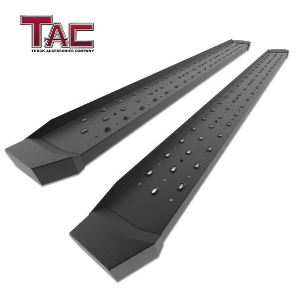 TAC Fine Texture Black Rattler Running Board for 2007-2018 Chevy Silverado/GMC Sierra 1500 / 2007-2019 Chevy Silverado/GMC Sierra 2500/3500 Extended/Double Cab Truck | Side Steps | Nerf Bars | Side Bars